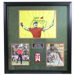 Tiger Woods Signed SI, Custom Painted 2019 Masters Flag, & Photo Framed Display FULL JSA
