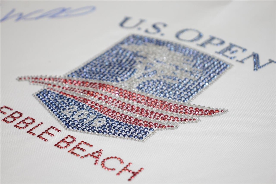 Gary Woodland Signed 2019 US Open at Pebble Beach Bling 'Embroidered' White Flag JSA #DD51539