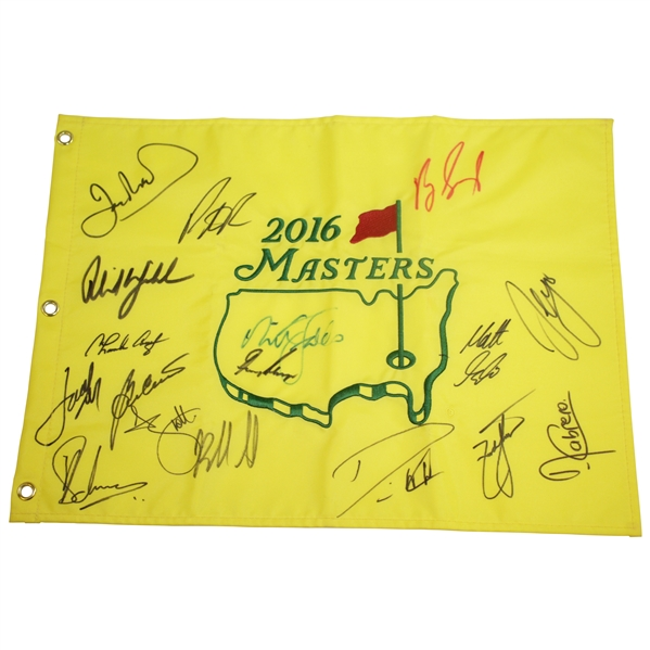 2016 Masters Embroidered Champs Flag Signed by 16 including Phil, Gary, Spieth, & others JSA ALOA