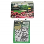 2002 & 2005 Masters Tournament Series Badges #R11872 & #Q09494 - Tiger Woods Wins
