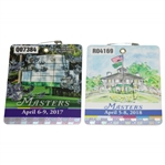 2017 & 2018 Masters Tournament Series Badges #Q07384 & #R04169 - Sergio & Reed Wins
