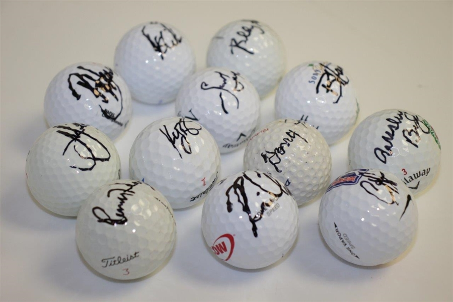 Doug Ford Plus Eleven PGA Golf Stars Signed Golf Balls JSA ALOA