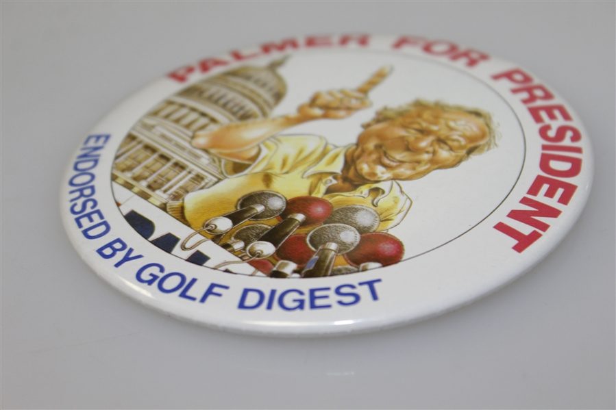 Arnold Palmer Large 4 Diameter Palmer for President Pin Back Button Endorsed by Golf Digest