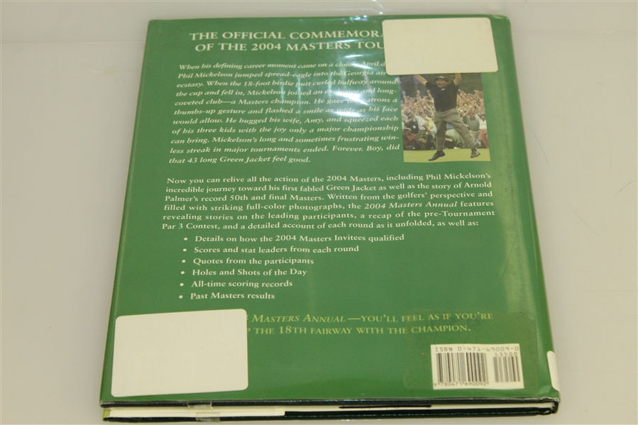 2004 Masters Tournament Annual Book w/ Dust Jacket - Phil Mickelson Winner