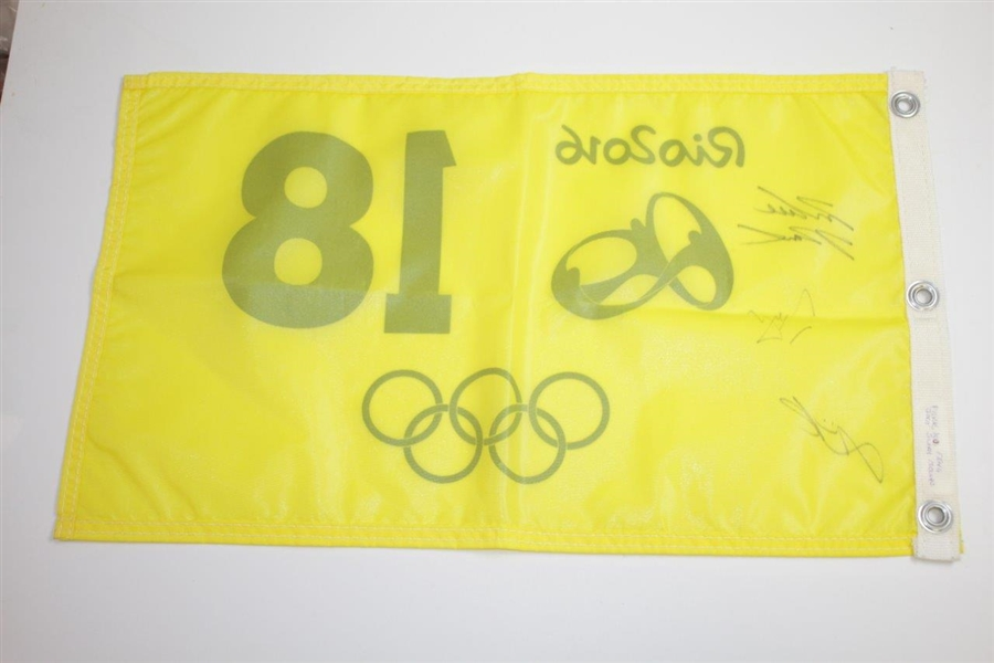 Gold, Silver, & Bronze Medal Winners Signed 2016 Rio Olympics Golf Flag JSA ALOA
