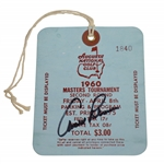 Arnold Palmer Signed 1960 Masters Second Round Ticket #1840 with Original String JSA ALOA