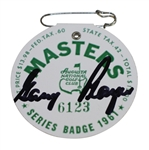 Gary Player Signed 1961 Masters SERIES Badge #6123 with Original Pin JSA ALOA