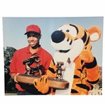 Tiger Woods Signed 1996 Disney Classic w/ Tigger the Tiger & Trophy 16x20 Photo - 2nd Win JSA ALOA