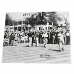 Gene Sarazen Signed Tee Off at Augusta with Jones  16x20 B&W Photo & Masters Champion 1935 JSA ALOA