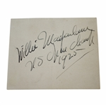 Willie MacFarlane Signed 3x5 Card with US Open Champ 1925 Notation JSA ALOA