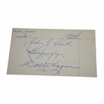"Walter Hagen Signed 1954 3x5 Card ""To John Smith"" JSA ALOA"