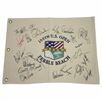 Twenty-One US Open Champions Signed 2000 US Open at Pebble Beach Canvas Flag JSA ALOA