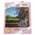 Jordan Spieth Signed 2015 Masters Series Badge #Q00996 JSA Full #BB46121