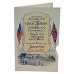 1927 Ryder Cup Banquet Menu Signed by Sixteen! Night Before Inaugural Ryder Cup Match - RARE JSA ALOA