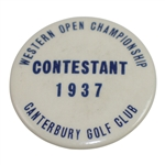 1937 Western Open Championship at Canterbury Golf Club Contestant Badge - Guldahl Win