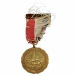 1941 Empire Day Golf Tournament Maple Leaf Fund Medal with Frayed Red, White, & Blue Ribbon