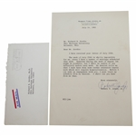 Bobby Jones Signed July 14, 1965 Letter on Personal Letterhead to Richard Gordin JSA ALOA