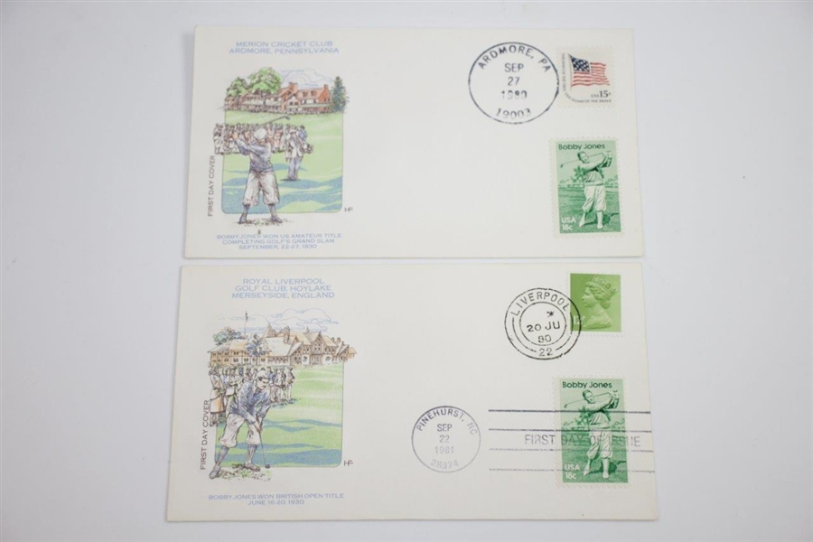 Set of 5 Double Stamped Bobby Jones Grand Slam First Day Covers