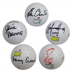 Masters Champs Burke, Aaron, Zoeller, Immelman, & Crenshaw Signed Masters Logo Golf Balls JSA ALOA