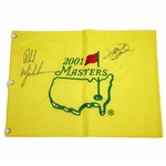Ken Venturis Personal 2001 Masters Embroidered Flag Signed by Mickelson & Duval JSA ALOA
