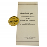 1949 Philadelphia Inquirer Inv. at Whitemarsh Contestant Badge & Handbook - Rod Munday Collection