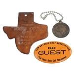 1948, 1949, & 1950 Texas Open Contestant Badge, Guest Badge, & Contestant Bag Tag - Rod Munday Collection
