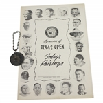 1949 Texas Open at San Antonio Contestant Badge & Pairing Sheet - Rod Munday Collection