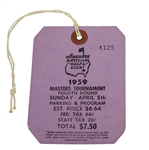 1959 Masters Tournament Fourth/Final Round Badge #4125 - Art Wall Winner