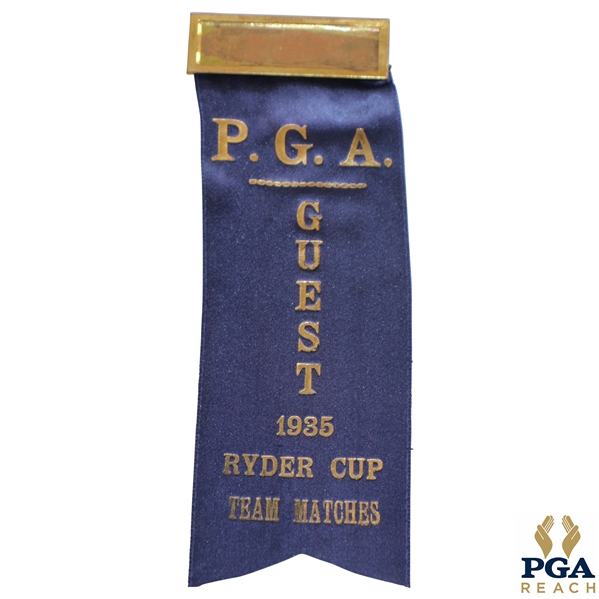 1935 Ryder Cup Team Matches P.G.A. Guest Blue Ribbon - Excellent Condition
