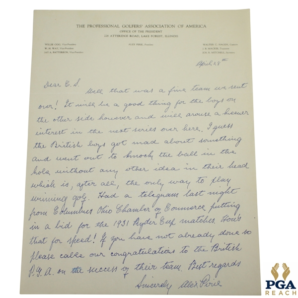 1931 Ryder Cup Hand-Written Correspondence Letter from PGA President Alex Pirie JSA ALOA