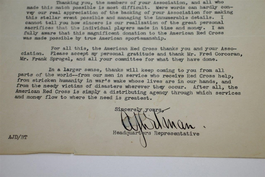 1942 American Red Cross Thank You Letter with 1942 Ryder Cup Charity Match Content