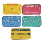 Five Official Masters Tournament Concession Badges - 1990, 1991, 1994, 1995, & 1996