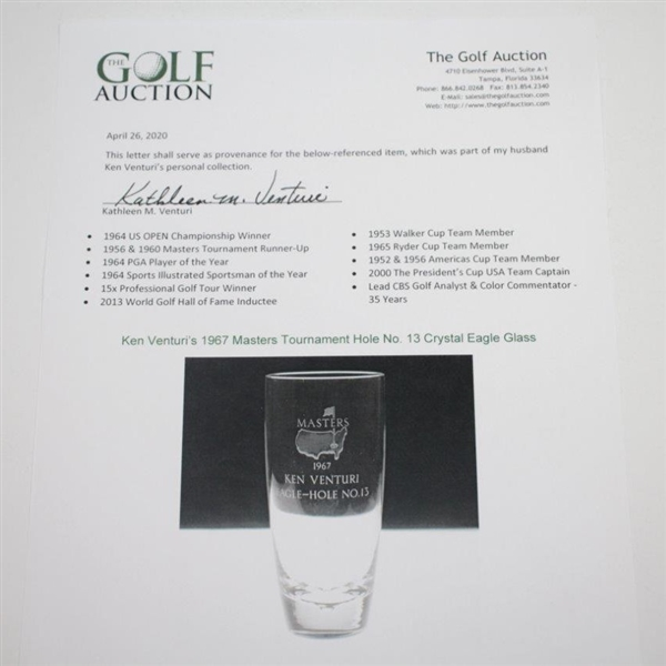 Ken Venturi's 1967 Masters Tournament Hole No. 13 Crystal Eagle Glass