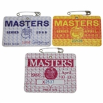 1966, 1975, & 1986 Masters Tournament Series Badges - Jack Nicklaus Wins