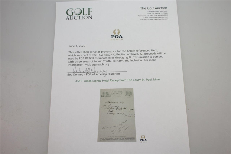 Joe Turnesa Signed Hotel Receipt from The Lowry St. Paul, Minn. JSA ALOA