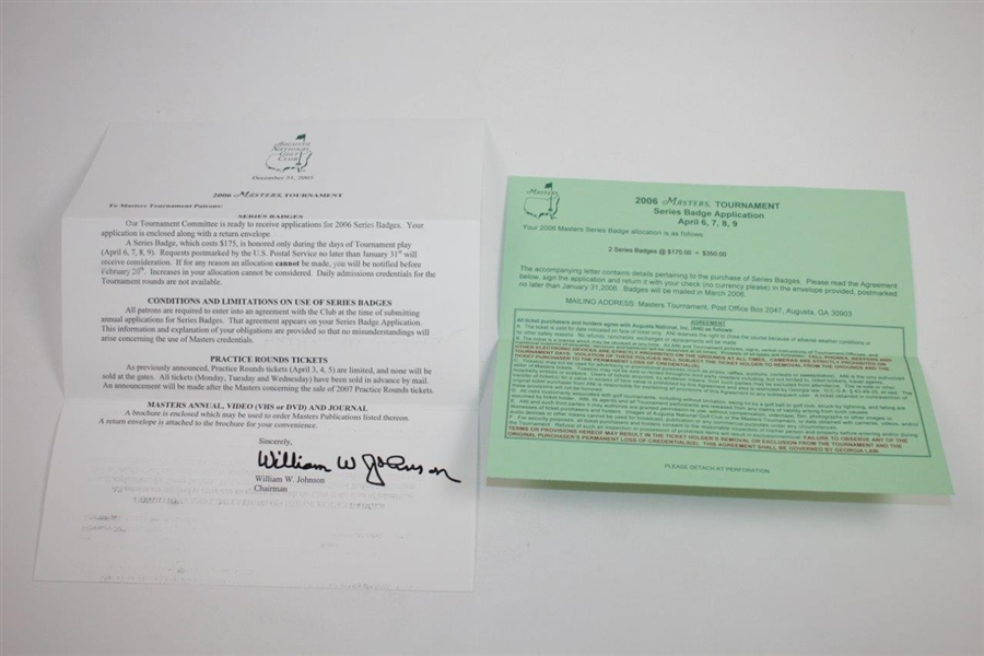 Ken Venturi's Personal Invitation to 2006 Masters Tournament from Hootie Johnson Letter