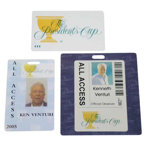 Ken Venturi's Personal 2005 & 2011 All Access Card for The President's Cup with Card