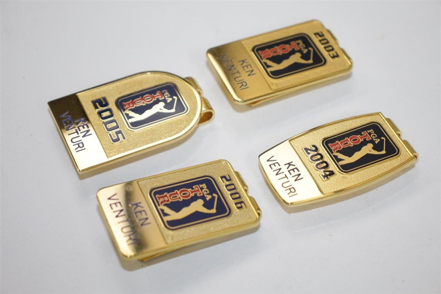 Ken Venturi's 2003, 2004, 2005 & 2006 PGA Tour Players Money Clips