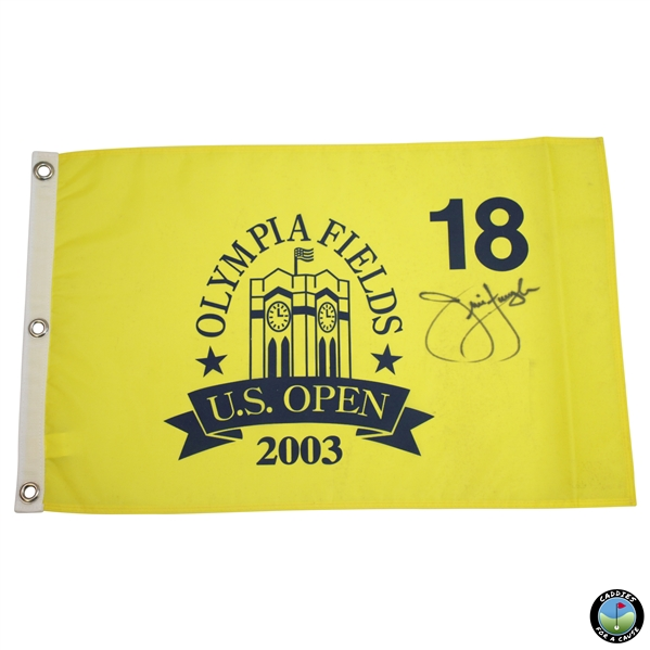 Jim Furyk Signed 2003 US Open at Olympia Fields Yellow Screen Flag JSA ALOA