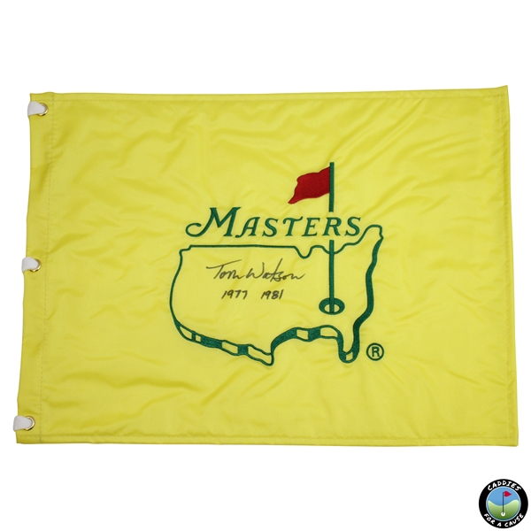 Tom Watson Signed Masters Undated Flag with Years Won Inscription JSA ALOA