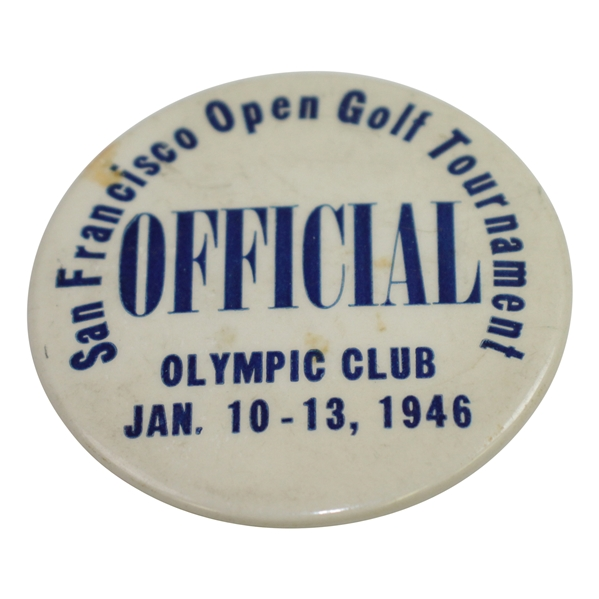 1946 San Francisco Open Golf Tournament at The Olympic Club Officials Badge