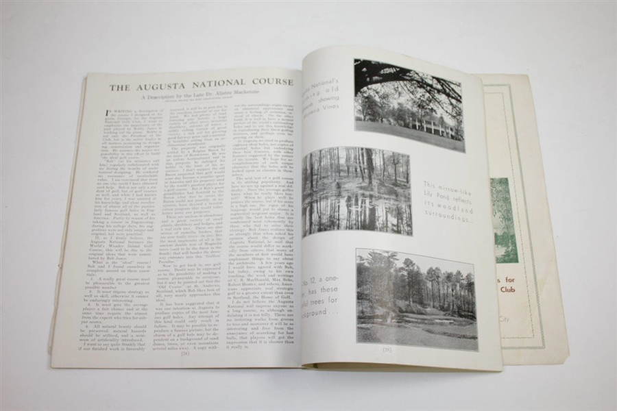 1935 Augusta National 2nd Annual Invitation (Masters) Tournament Program