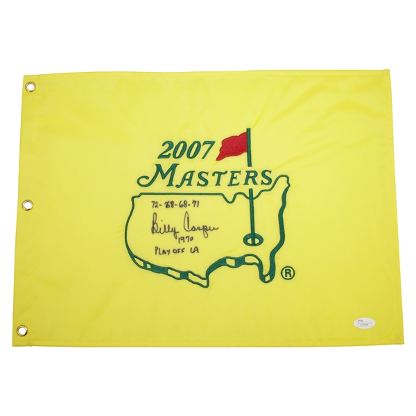 Billy Casper Signed 2007 Masters Flag with Round Scores, Year, & Playoff Score JSA FULL #Z70949