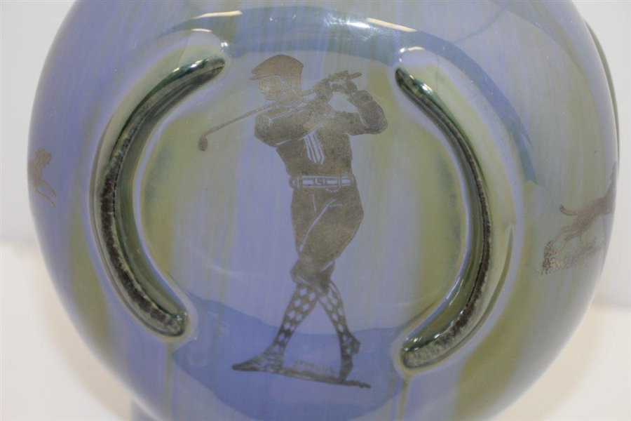 Circa 1900 Fulper Decanter Sterling Sliver Overlay - Golf & Polo