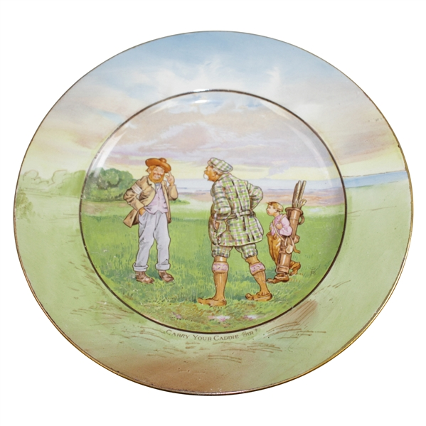Circa 1920's Grimwades Carry Your Caddie Sir? Plate Made in England