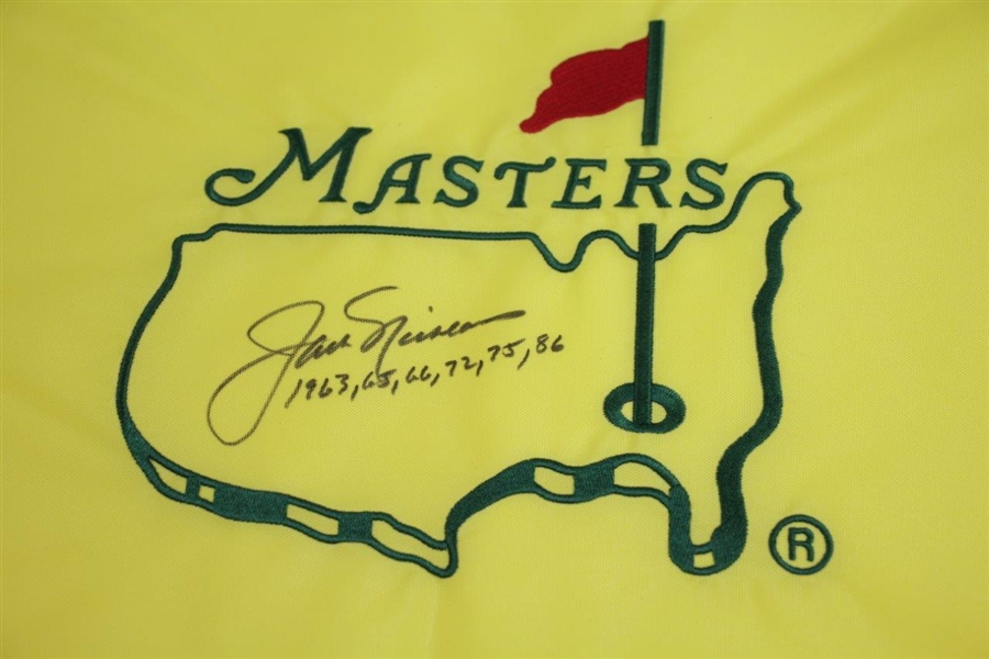 Jack Nicklaus Signed Undated Masters Embroidered Flag with Years Won Notation JSA ALOA