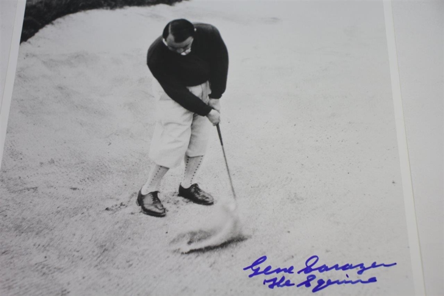 Gene Sarazen Signed B&W 11x14 Photo Hitting out of Sandtrap with 'The Squire' JSA ALOA