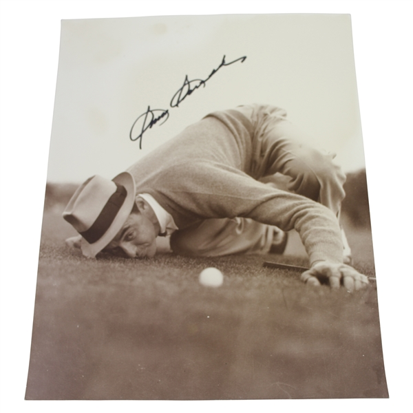 Sam Snead Signed 11x14 Sepia Tone Photo - Eyeing Up Golf Ball JSA ALOA