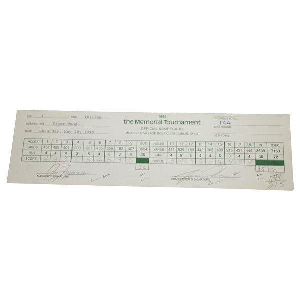 Tiger Woods Signed 1998 Memorial Tournament Used Official Scorecard PSA/DNA #H50300