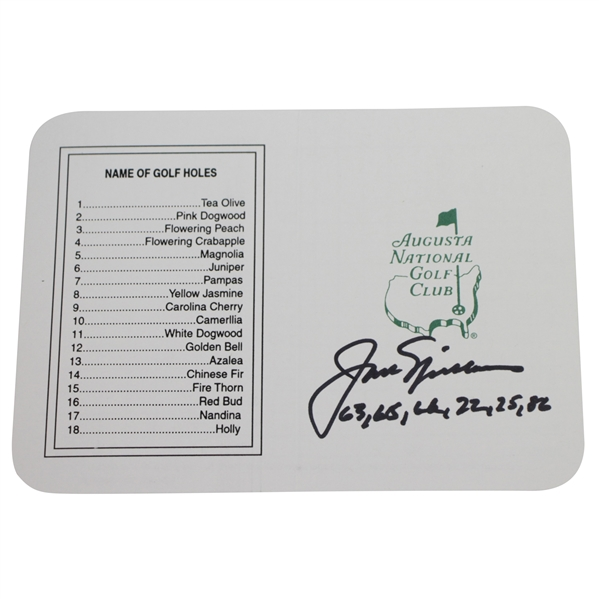 Jack Nicklaus Signed Augusta National Scorecard with Dates Won Inscription JSA ALOA
